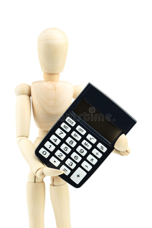 Wooden man hold calculator on white background. Wooden man hold calculator on a white background stock images