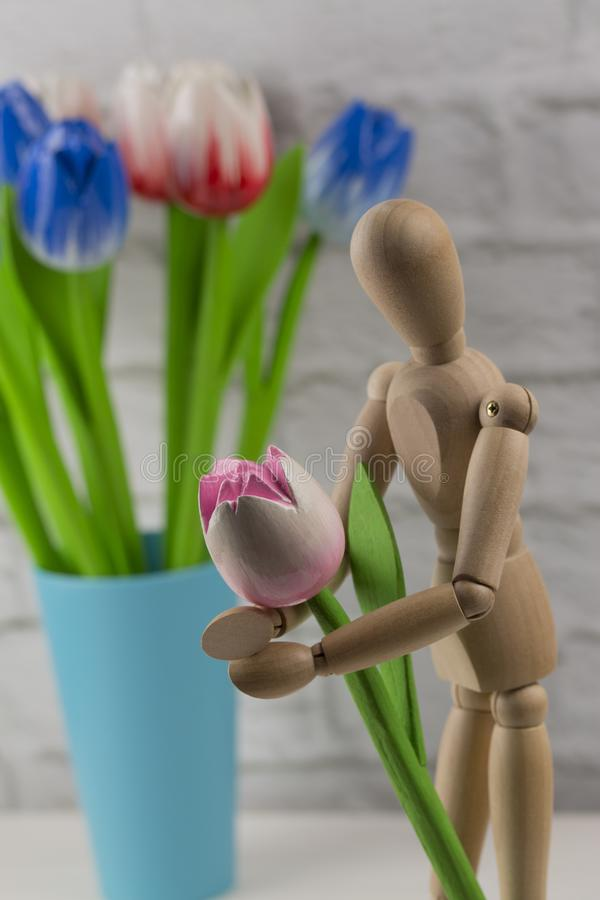 Wooden man holding a flower tulips. A man with a flower in his hands, a concept - waiting for a date with his love royalty free stock images