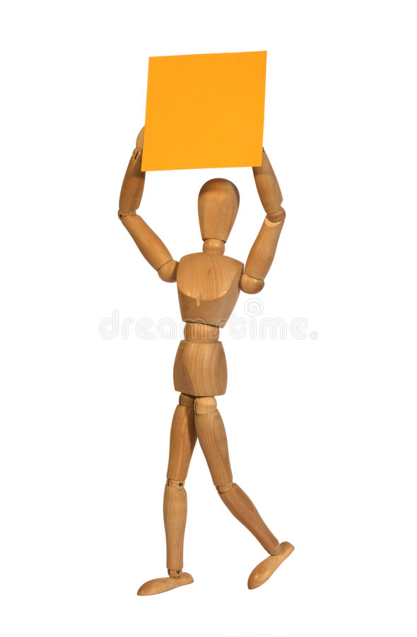 Wooden man with a letter royalty free stock photography