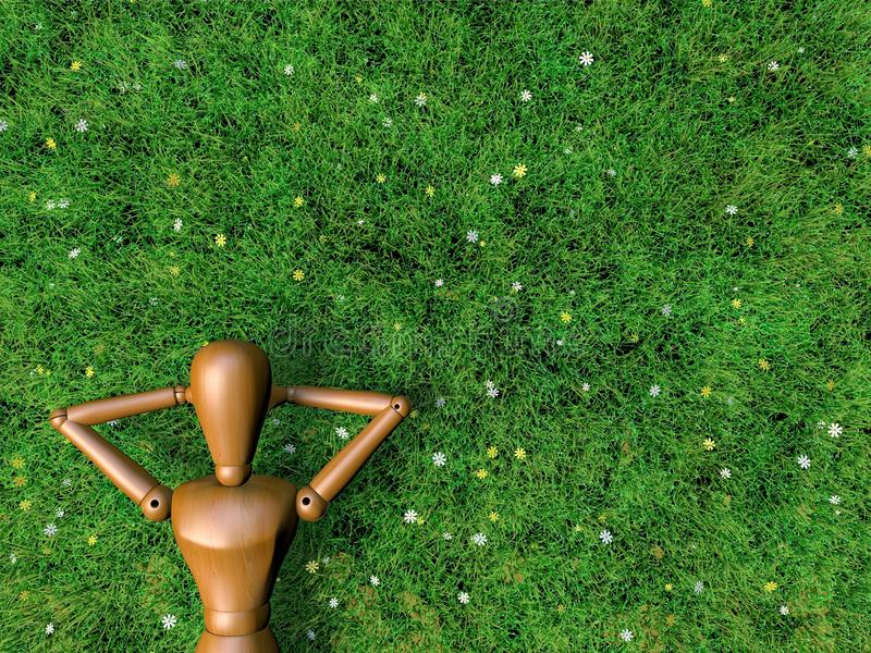 Wooden man is relax in filed of grass. royalty free illustration
