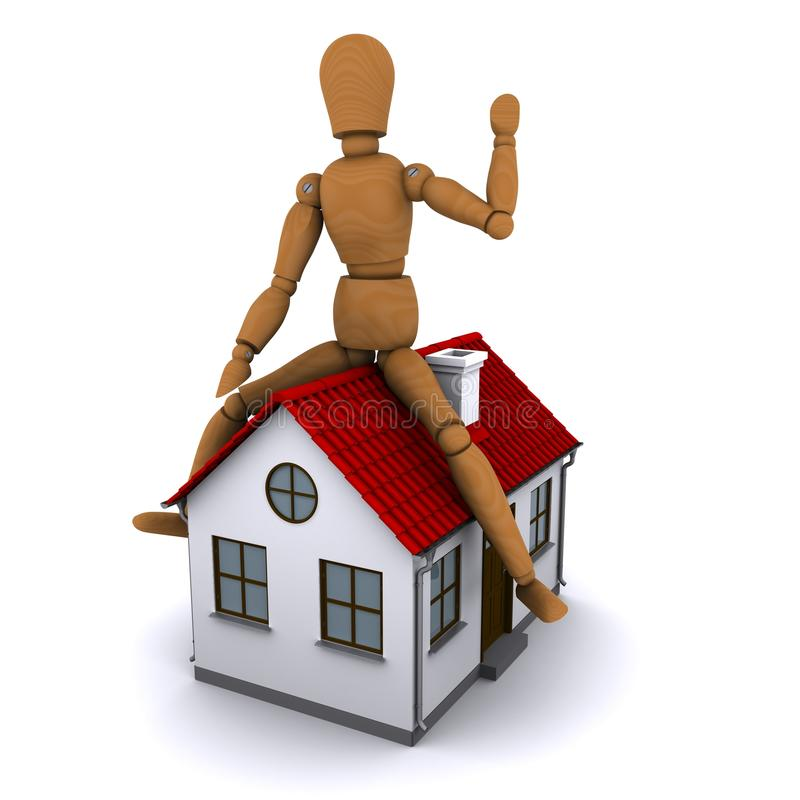 Download The Wooden Man Sitting On The Roof Of The House Stock Illustration - Image: 22865988