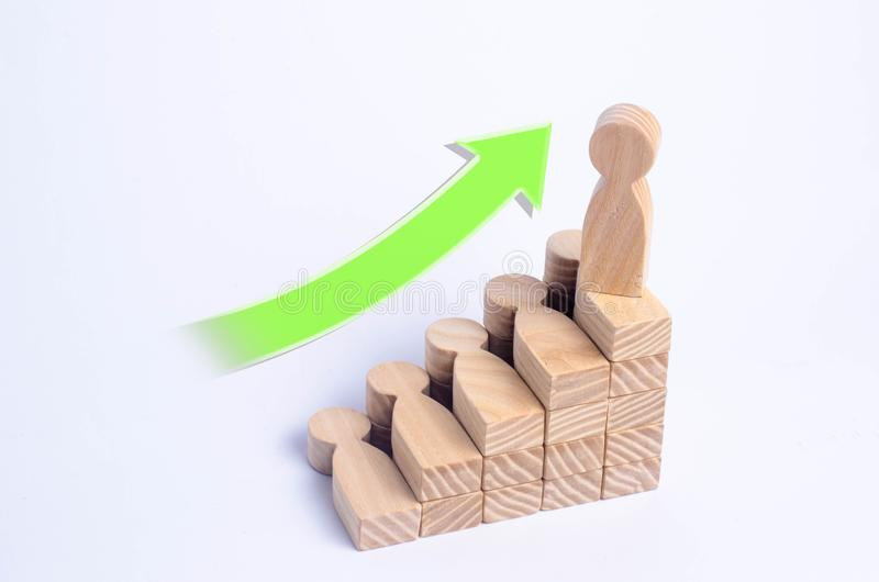 A wooden man stands at the top of a social or career ladder. Concept of business success. Stairs of people. Use other workers. A wooden figure of a man ascends stock image
