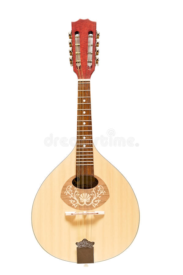 Wooden Mandolin Isolated on White. Wooden flatback mandolin isolated on white stock photo