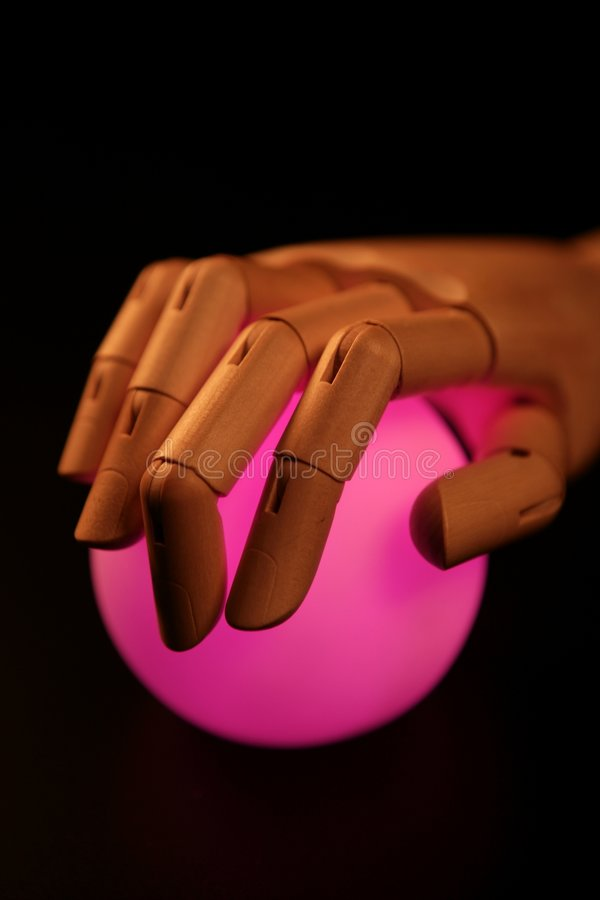 Download Wooden Mannequin Hand, Ball Of Light, Fortune Stock Photo - Image of glow, future: 7539898