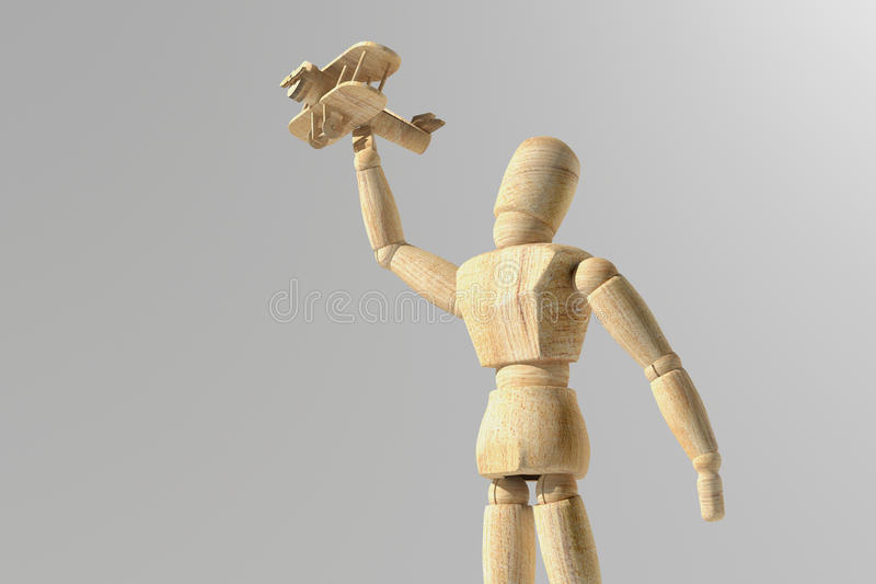 Wooden mannequin prototype of human. 3d rendering of wooden mannequin toy prototype of human with a plane in the hand stock illustration