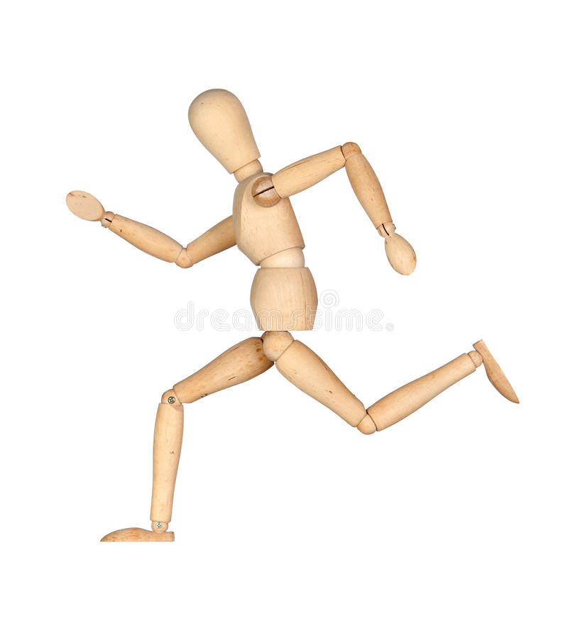 Wooden mannequin running royalty free stock photos
