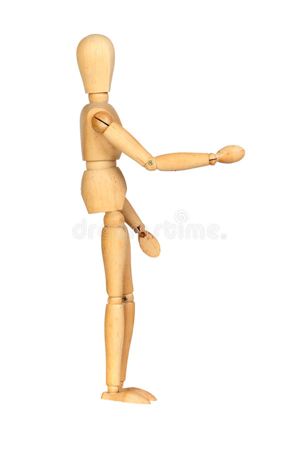 Wooden mannequin shaking hands to greet stock photography