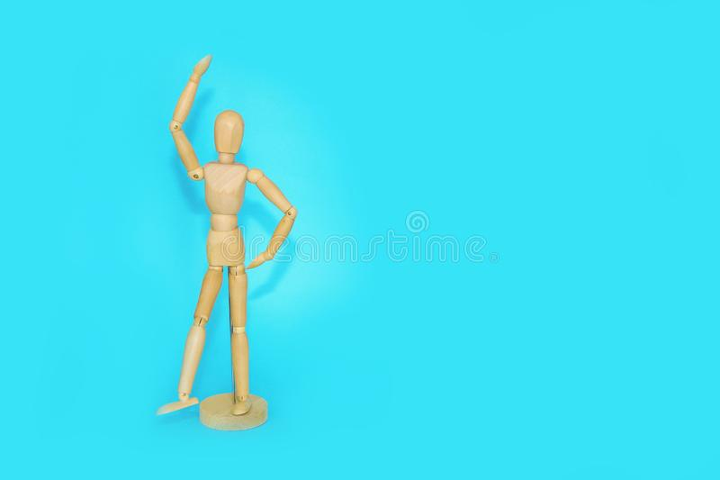 wooden mannequin shows emotions and movements stock photos