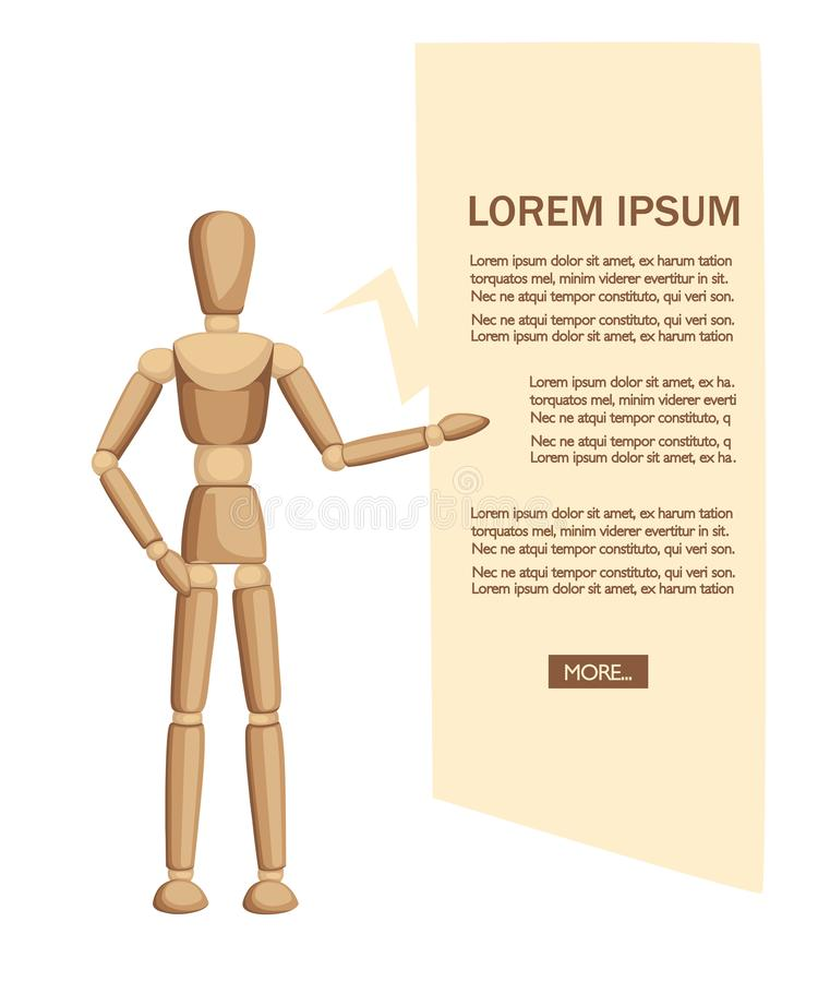 Wooden mannequin stand and show the text. Flat  illustration on white background. Place for text. Web site page and mobile. App design royalty free illustration