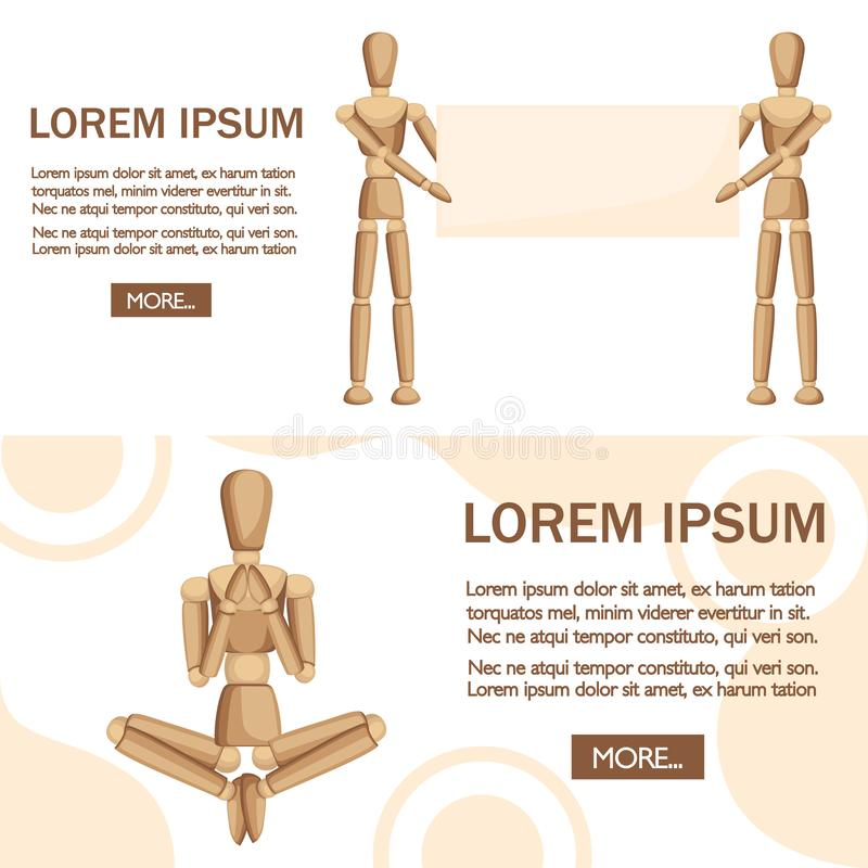 Wooden mannequin stand and show the text. Flat  illustration on white background. Place for text. Web site page and mobile. App design stock illustration