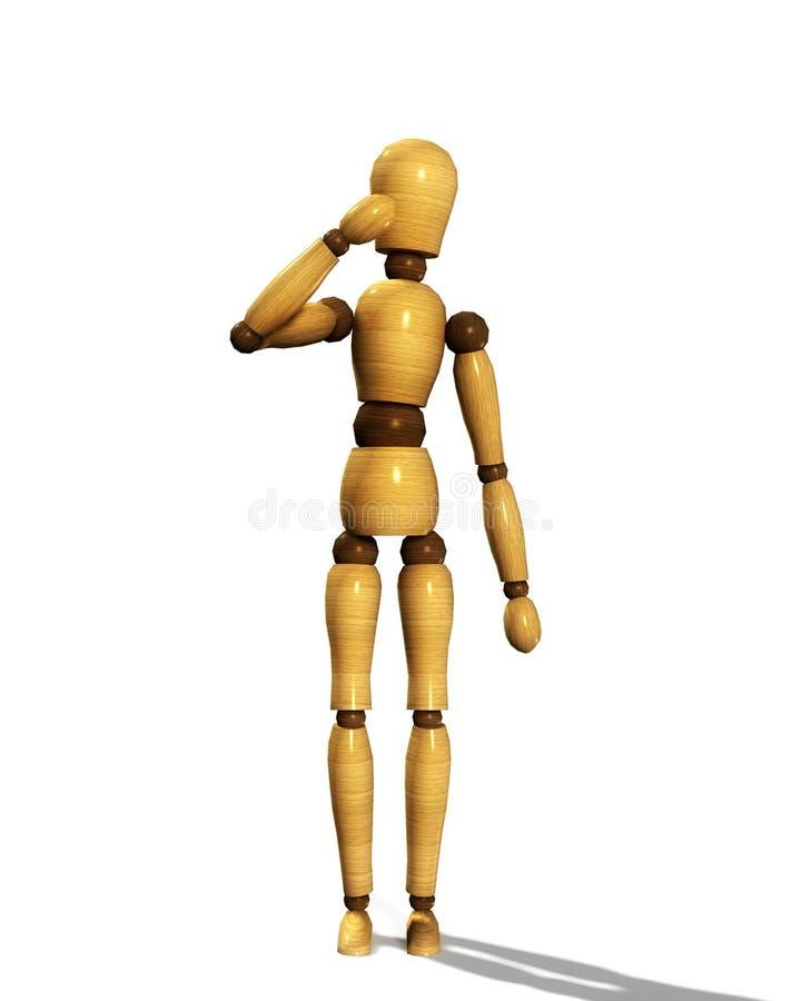 Wooden Mannequin Thinking