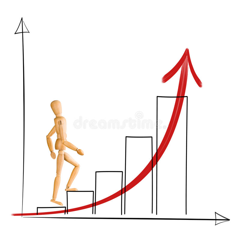 Wooden mannequin walking up chart columns. stock photo