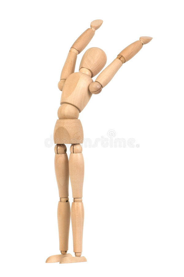 A wooden mannequin work out stock photos