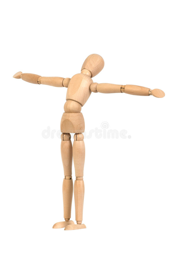 A wooden mannequin work out. White background isolated royalty free stock images