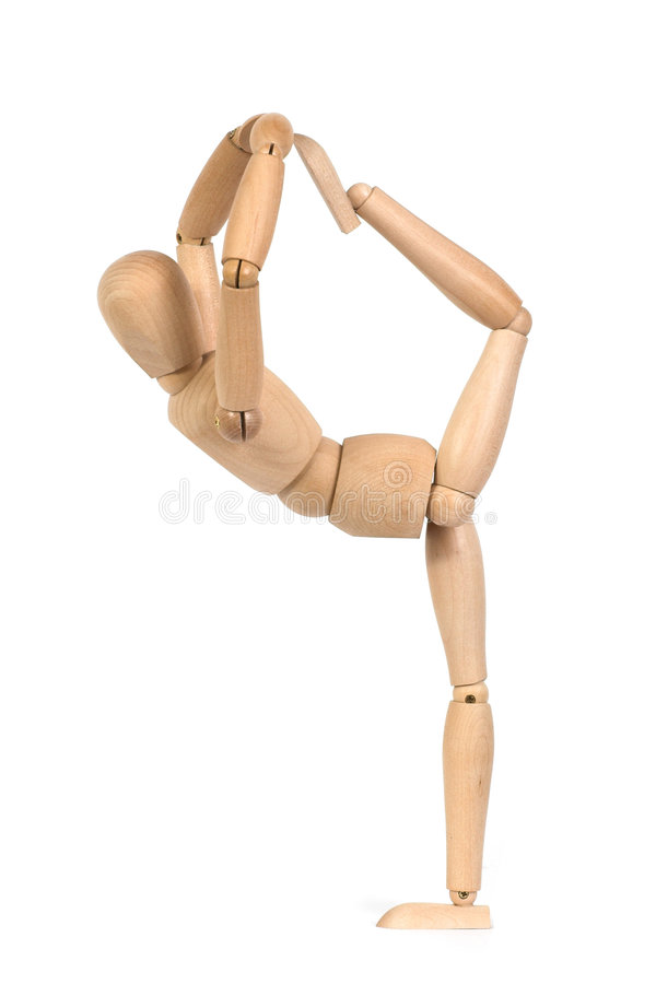 A wooden mannequin work out stock photo