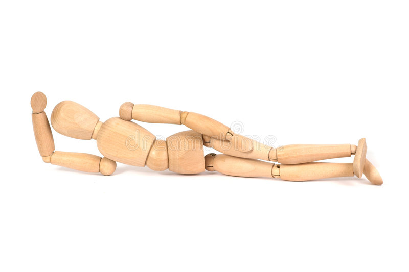 A wooden mannequin work out. White background isolated royalty free stock photos