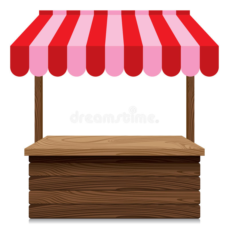 Wooden Market Stall With Red And Pink Awning On White