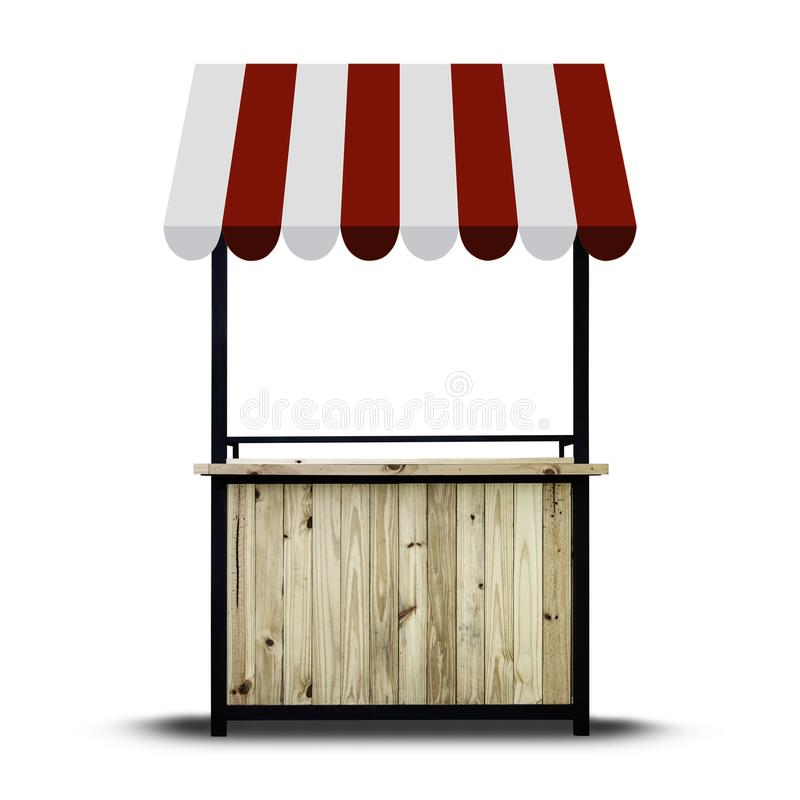 Wooden market stand on white royalty free stock image