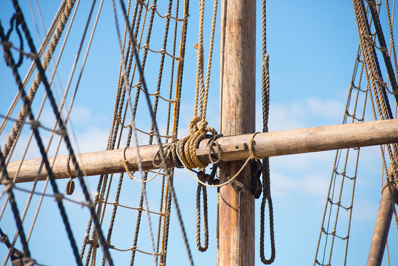 Wooden Mast, Rigging and Ropes of old sailing boat royalty free stock photo