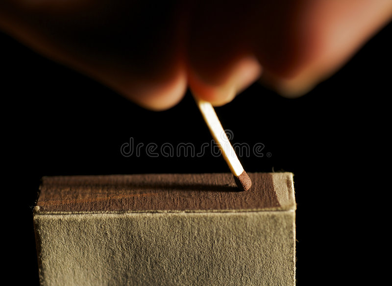 The wooden match stock photography