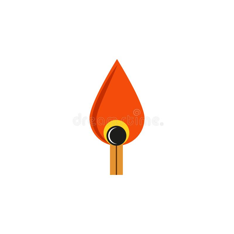 Free Wooden Match Burning Logo Flat Design, Fire Controlled Concept Royalty Free Stock Photos - 154390588