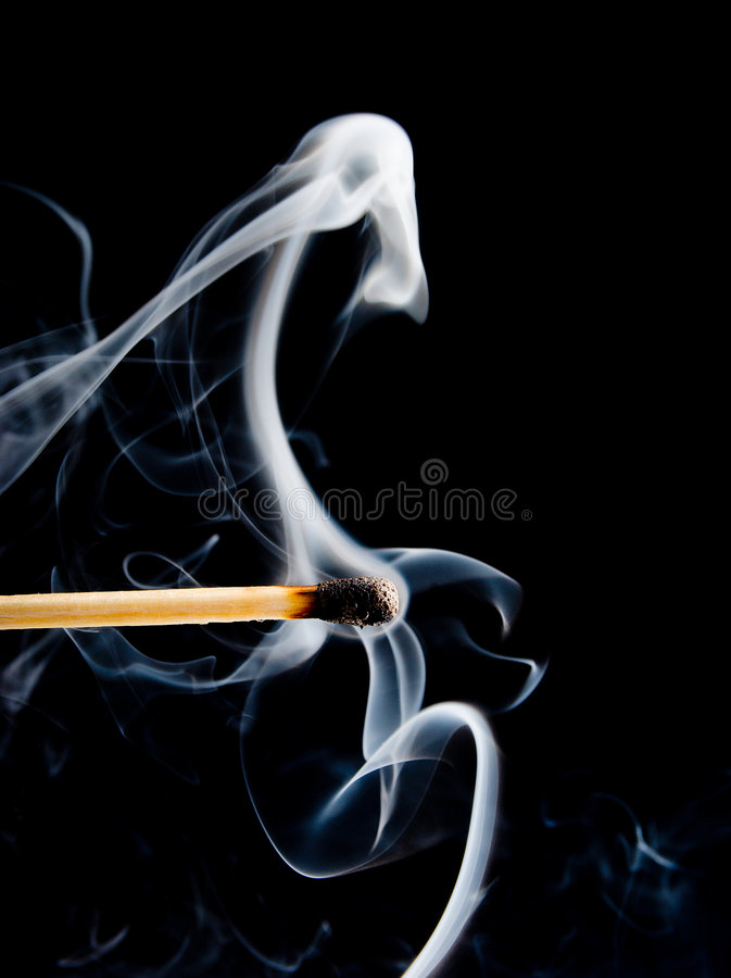 Free Wooden Match Burning On A Black Stock Photos - 8878813