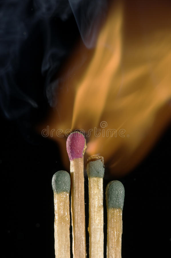 Wooden Matches Igniting Stock Photography