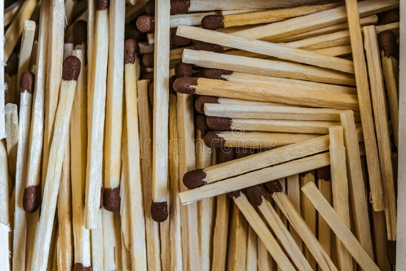 Wooden matches with a sulfur head royalty free stock photo