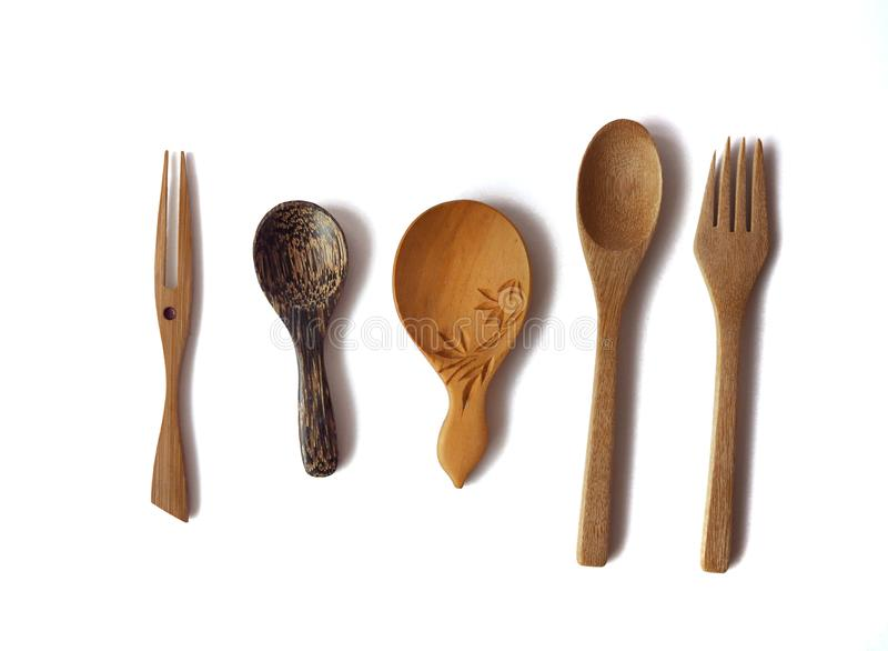 Fork and spoon palm wooden collection stock photos