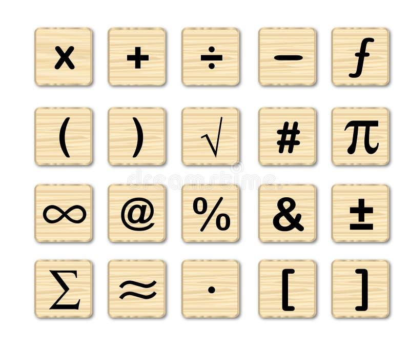 Wooden Math Symbols stock illustration. Illustration of board - 61477390