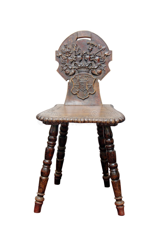 Wooden medieval chair stock photo