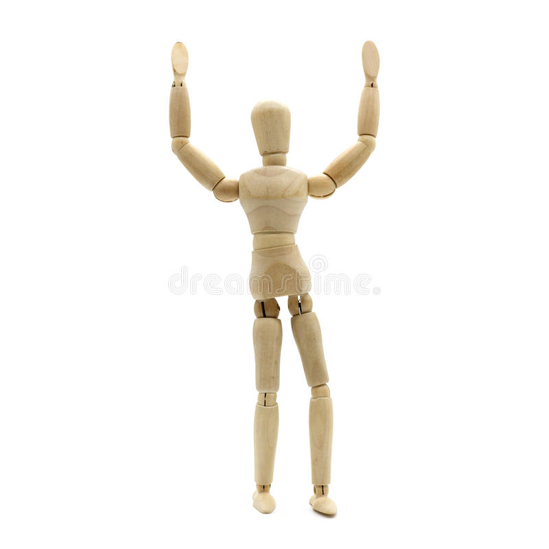 Wooden men hand up, extend arms on isolate white background royalty free stock images