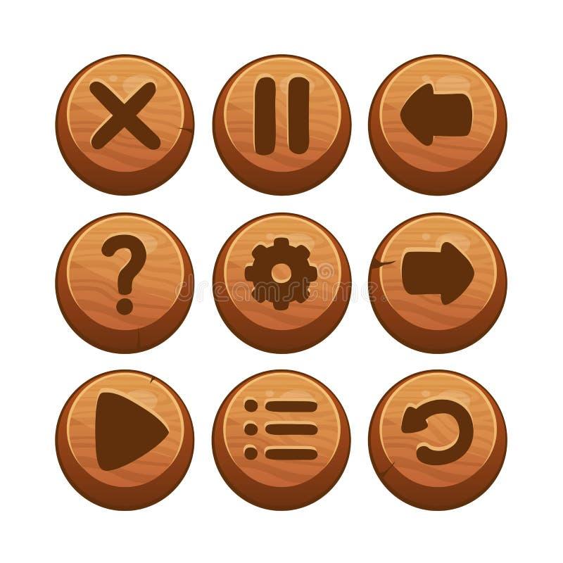 Wooden Menu Buttons stock illustration