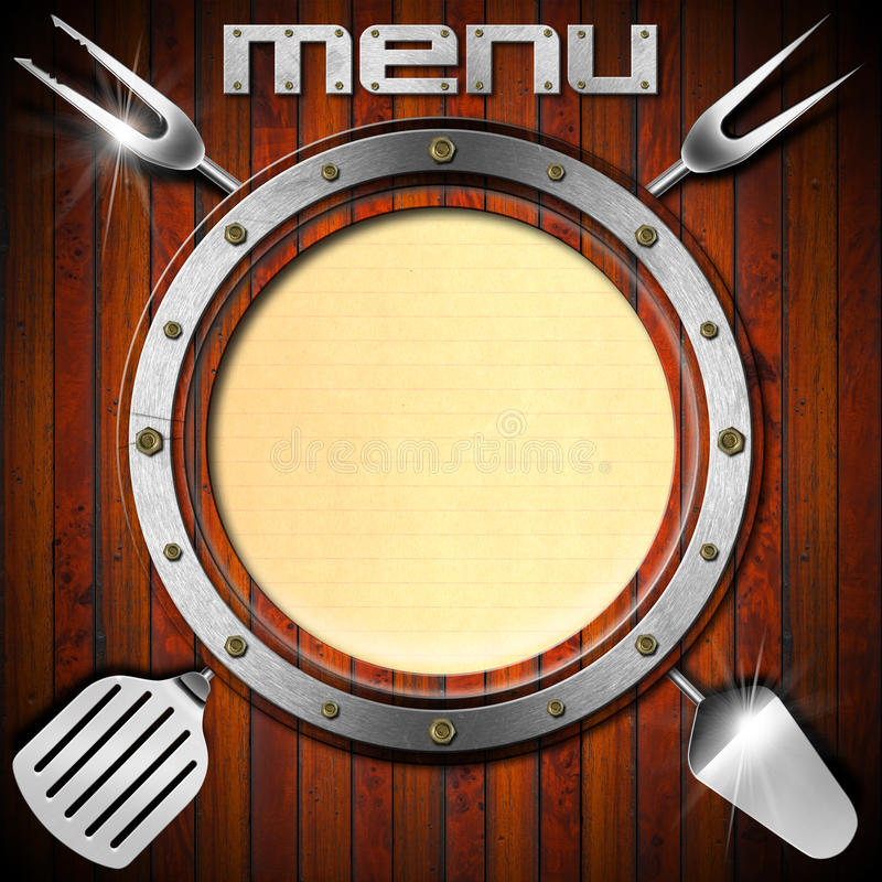 Wooden Menu with Metal Porthole vector illustration