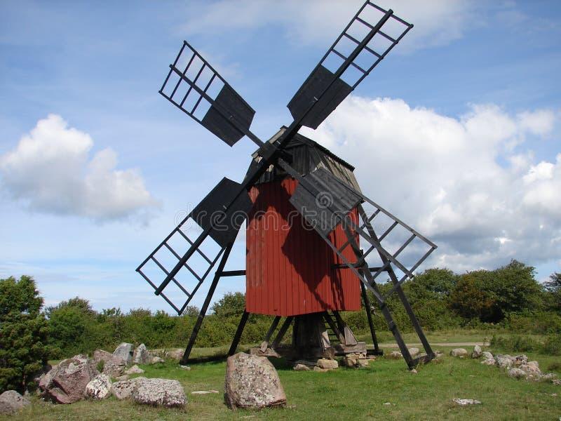Wooden mill in Öland, Sweden stock photos