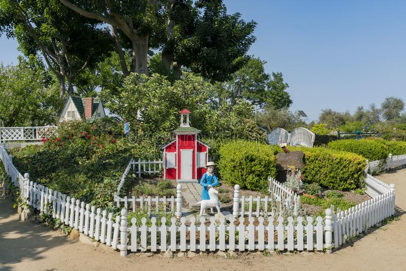 Wooden modal house decoration in South Coast Botanic Garden. Los Angeles, JUL 15: Wooden modal house decoration in South Coast Botanic Garden on JUL 15, 2018 at royalty free stock image