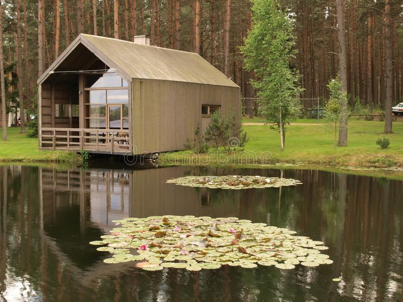 Download Wooden Modern House At A Pond Stock Image   Image Of Construction,  Ecologic: