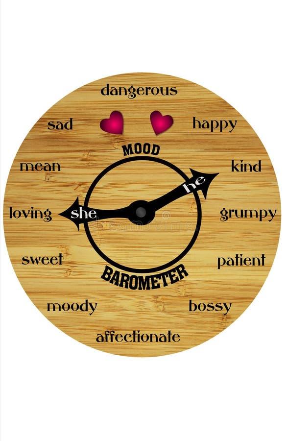 Wooden mood barometer stock illustration