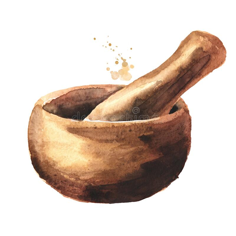 Free Wooden Mortar And Pestle. Watercolor Hand Drawn Illustration Isolated On White Background Stock Photography - 169876202