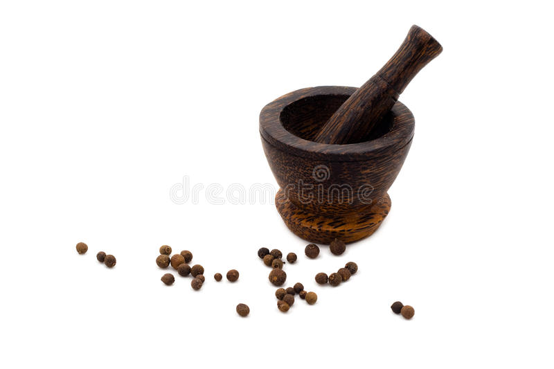 Download Wooden Mortar Culinary With Black Pepper Stock Photo - Image: 11769582