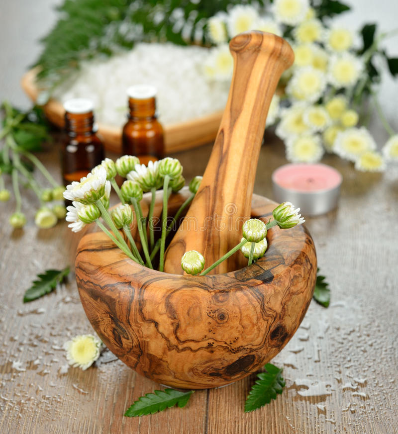 Wooden mortar and flowers stock photography
