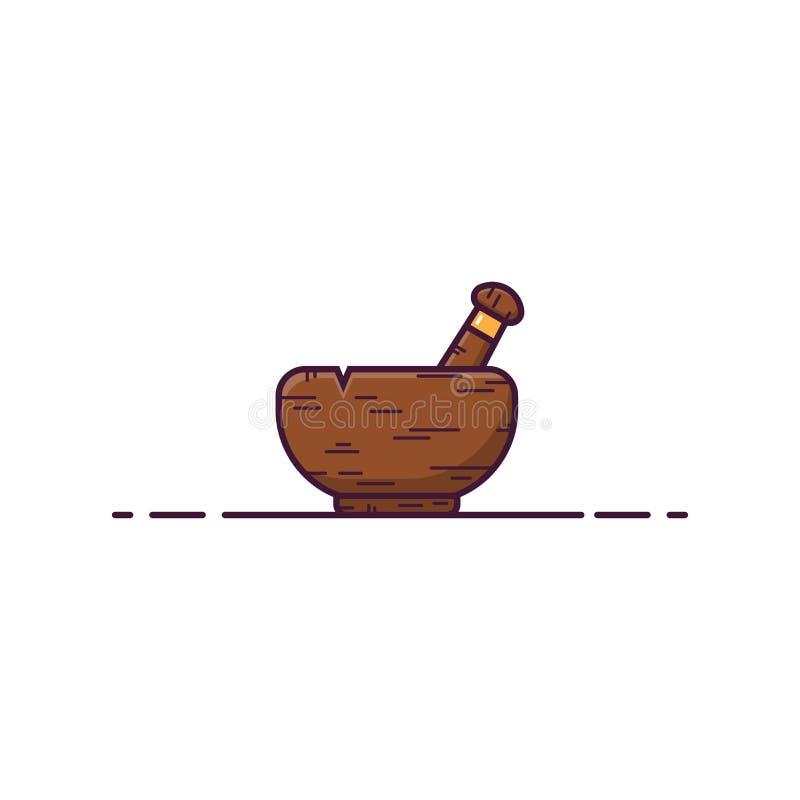 Wooden mortar stock illustration