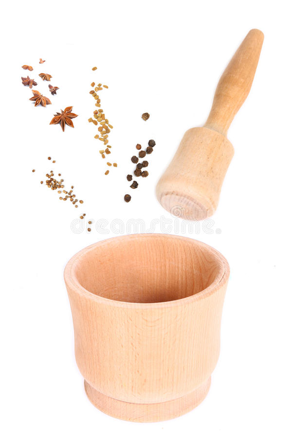 Wooden mortar for spice. collage isolated royalty free stock photography
