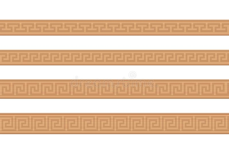 Wooden Mouldings Ornamental Carved Pattern Greek Style. Wooden mouldings. Ornamental carved wood strips, decorative greek style pattern, seamless extendible royalty free illustration