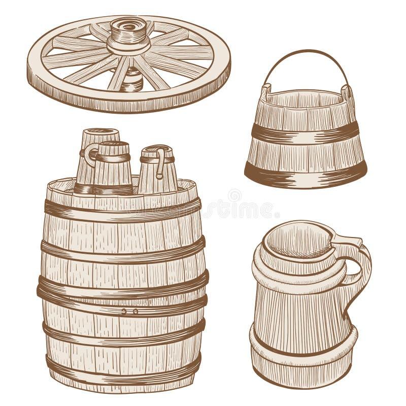 Free Wooden Mugs, Bucket, Wheel, Barrel Drawing Stock Images - 53879634
