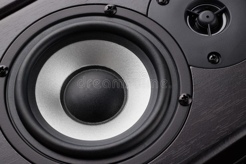Wooden multimedia system in black close-up. Loudspeakers. Audio speakers royalty free stock images