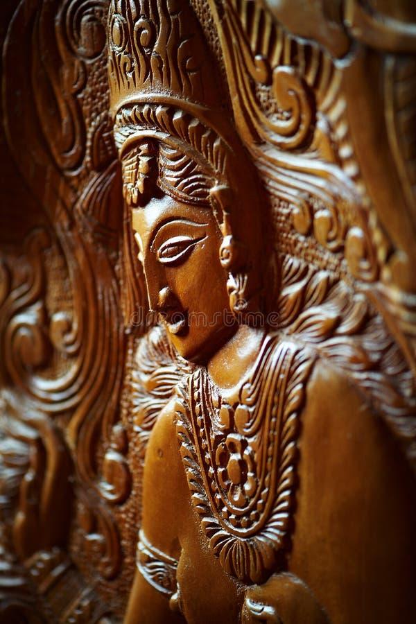 Wooden Mural Depicting The Indian Goddess Stock Photos