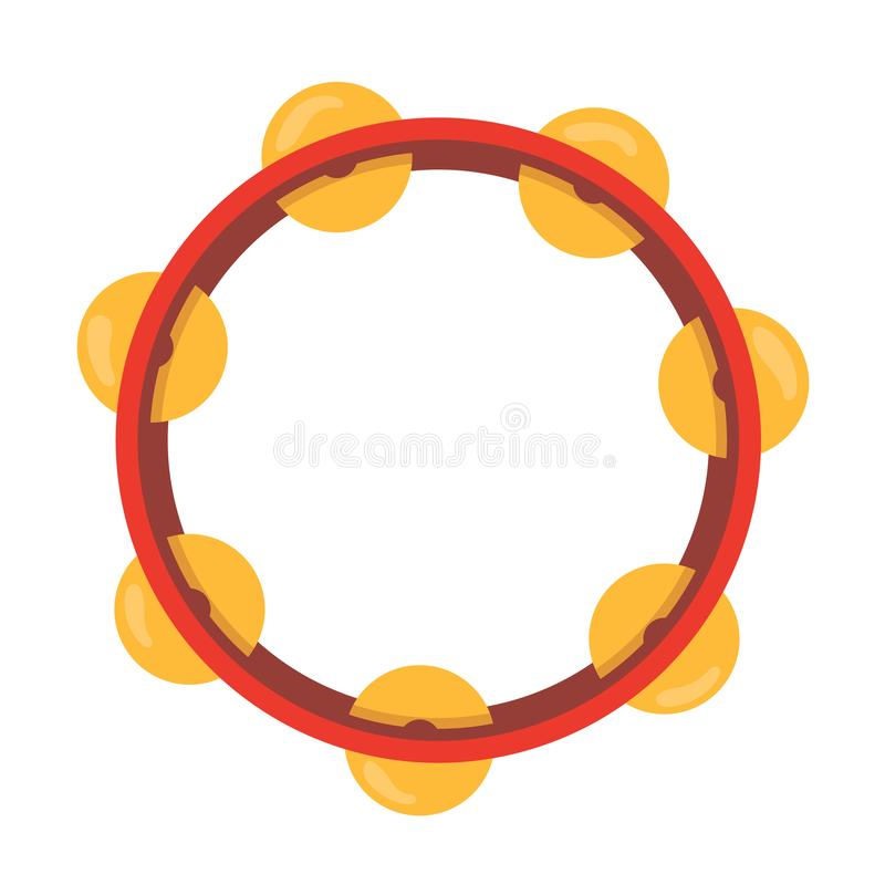 Wooden musical instrument percussion tambourine, with metal plates. Musical instrument for parties, concerts, events. Tambourine with a sonorous sound. Vector stock illustration