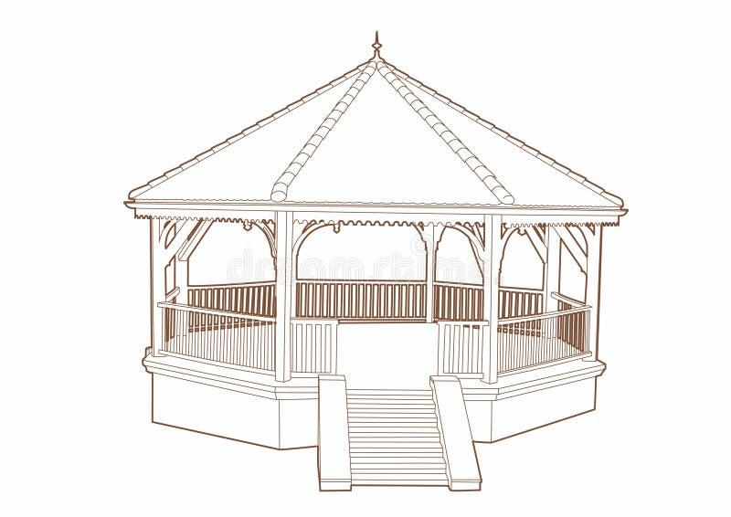 Wooden musical kiosk vector illustration