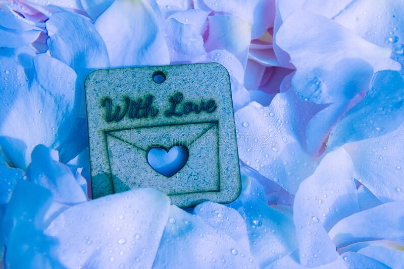 Wooden nameplate with love on soft blue petal background with waterdrops royalty free stock photo